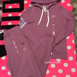 VS PINK Half Zip Hoodie + Campus Pants 2pcs Set